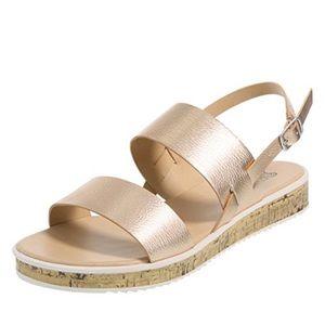 Brash rose gold thatch flat sandal